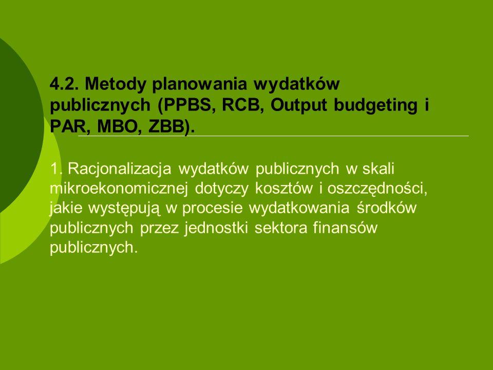 4.2. Metody planowania wydatków publicznych (PPBS, RCB, Output budgeting i PAR, MBO, ZBB).