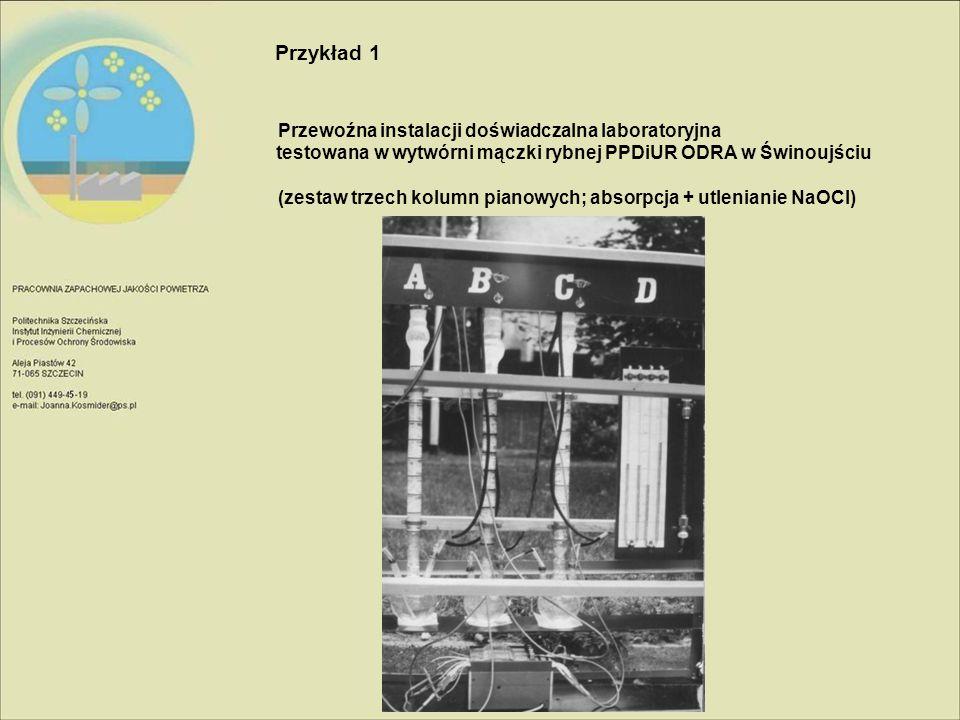 Przykład 1 Przewoźna instalacji doświadczalna laboratoryjna testowana w wytwórni mączki rybnej PPDiUR ODRA w Świnoujściu.