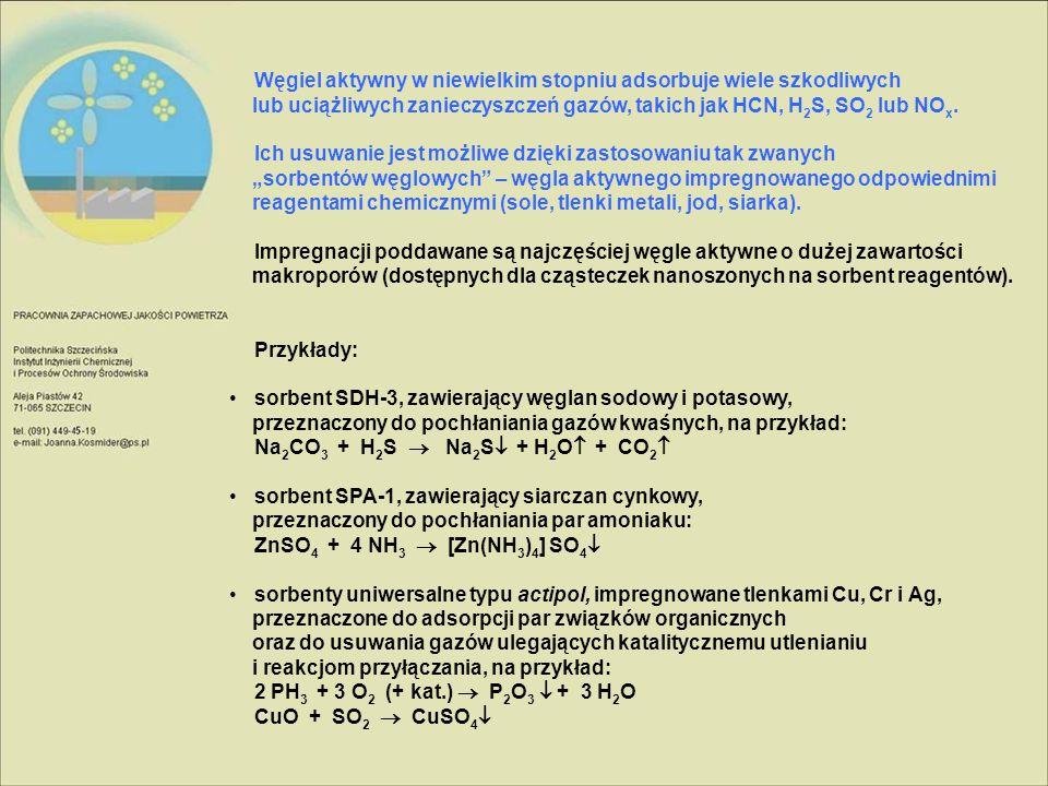 Węgiel aktywny w niewielkim stopniu adsorbuje wiele szkodliwych lub uciążliwych zanieczyszczeń gazów, takich jak HCN, H2S, SO2 lub NOx.