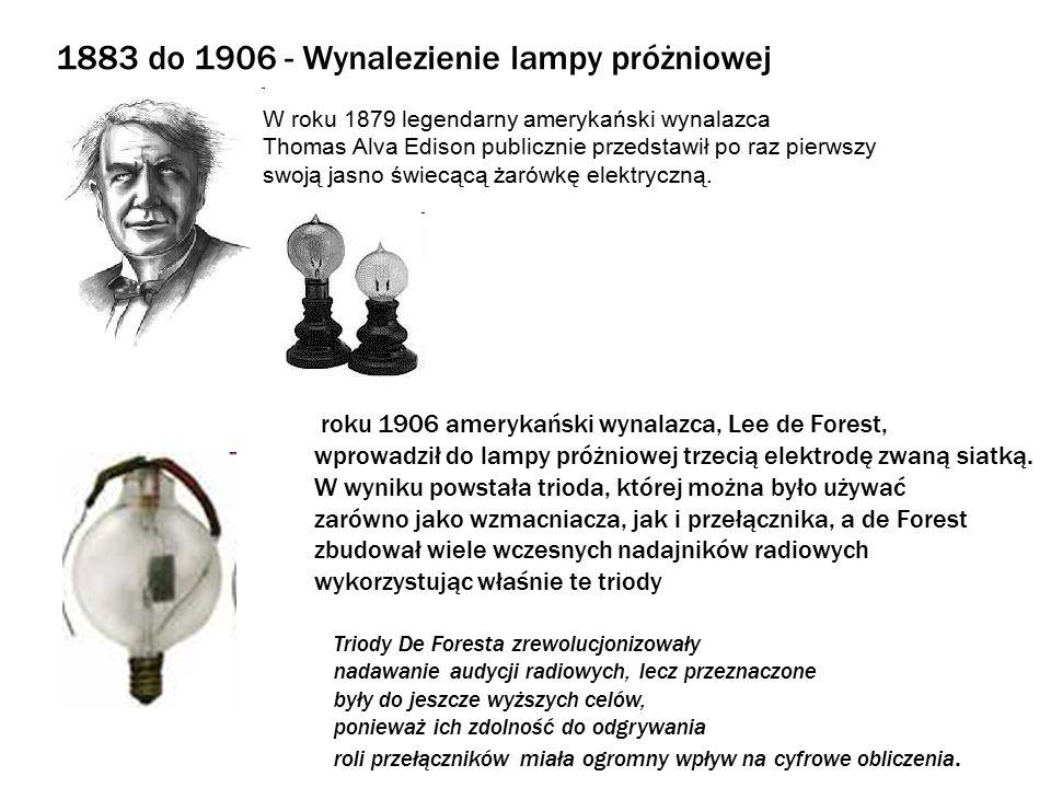 1883 do 1906 - Wynalezienie lampy próżniowej