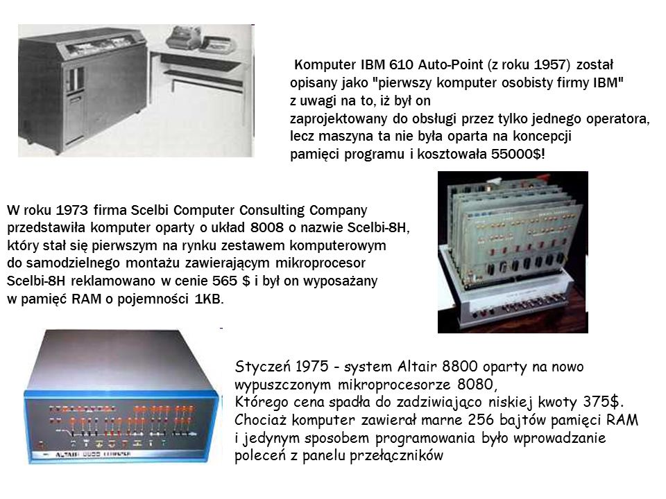 Komputer IBM 610 Auto-Point (z roku 1957) został