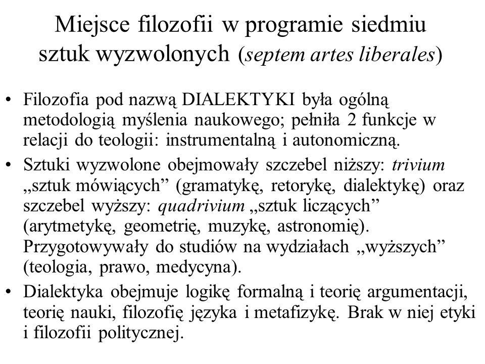 Miejsce filozofii w programie siedmiu sztuk wyzwolonych (septem artes liberales)