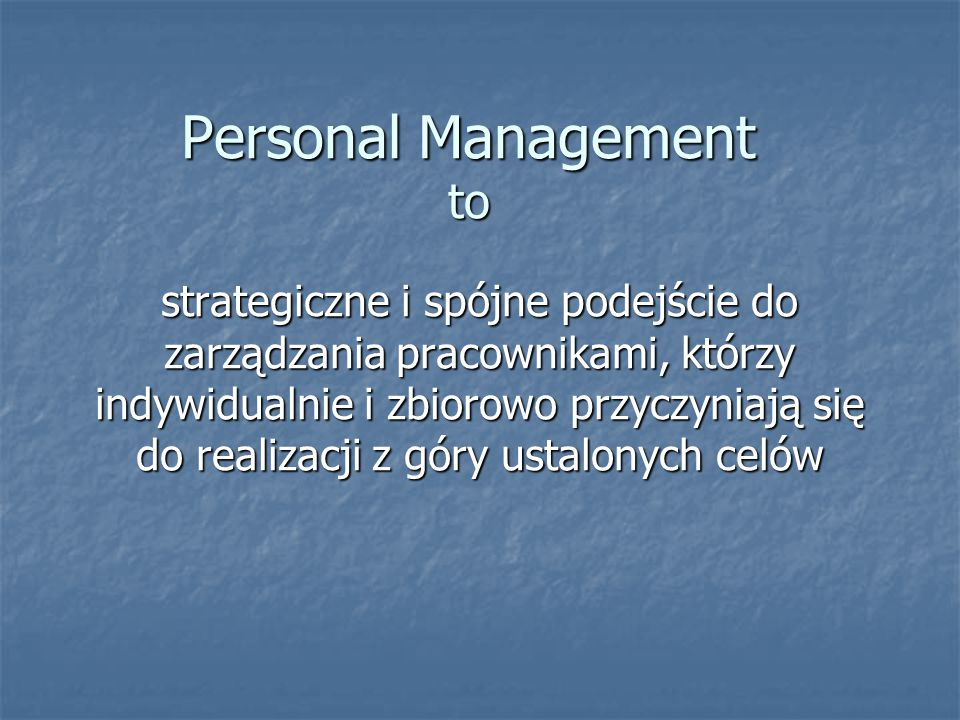 Personal Management to