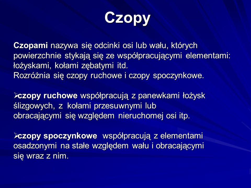 Czopy Czopami nazywa się odcinki osi lub wału, których powierzchnie stykają się ze współpracującymi elementami: łożyskami, kołami zębatymi itd.