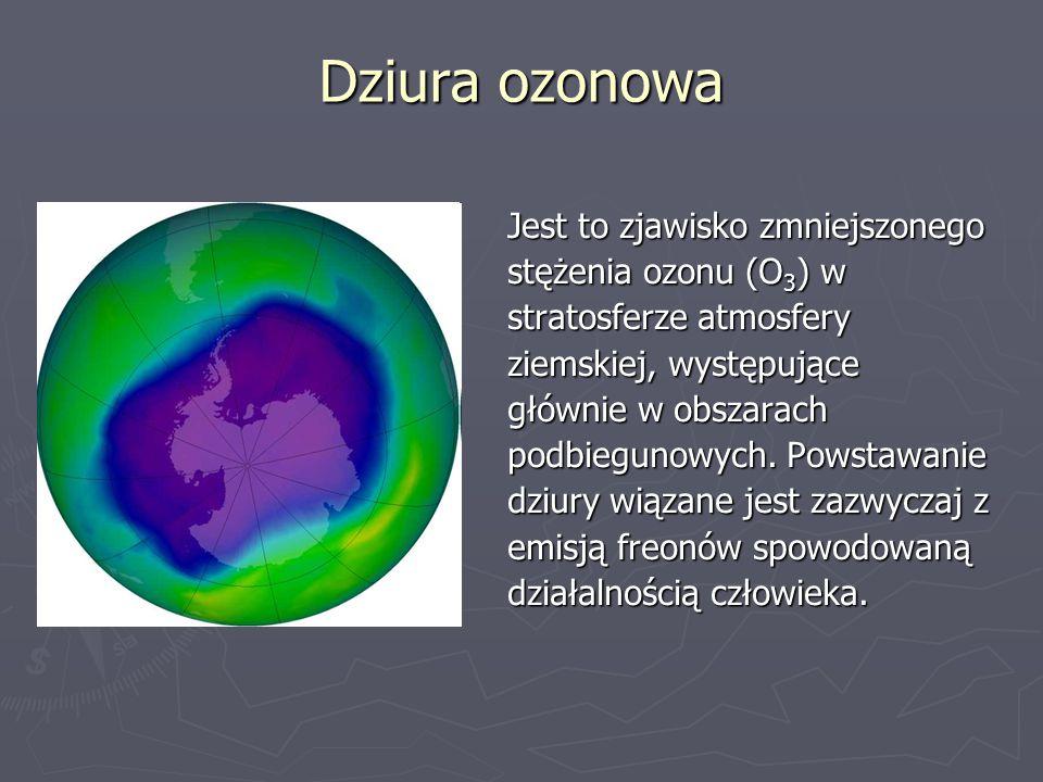 Dziura ozonowa Jest to zjawisko zmniejszonego stężenia ozonu (O3) w