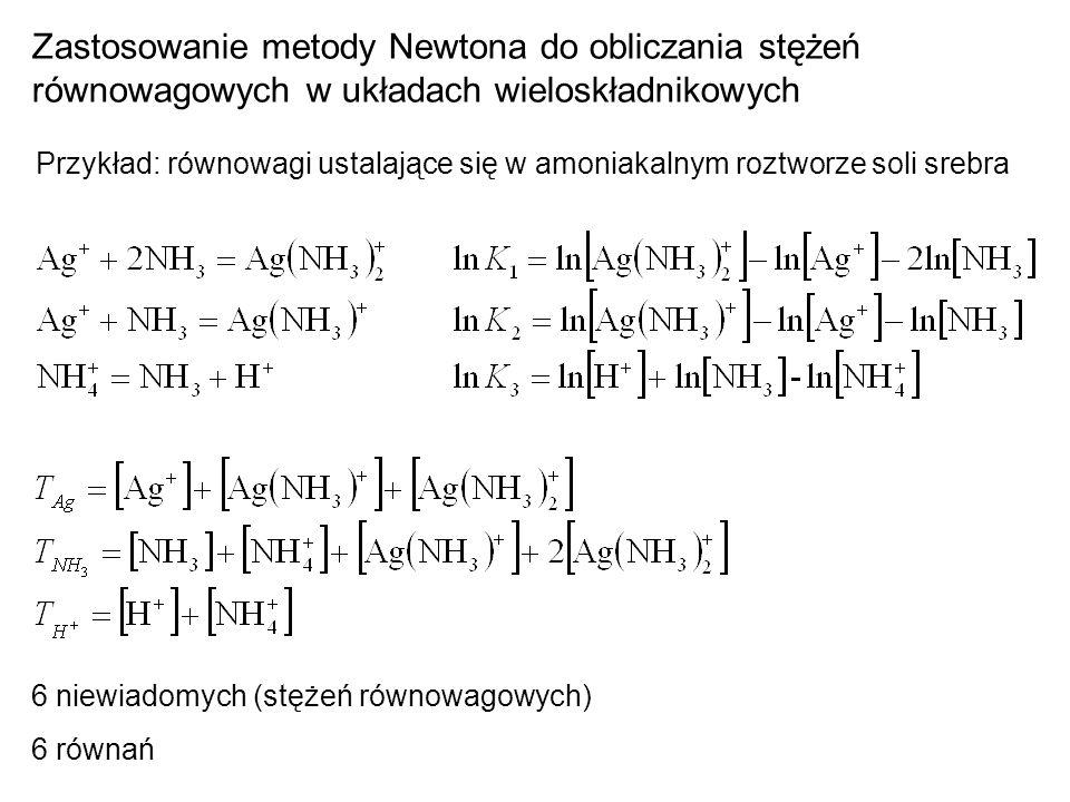 Zastosowanie metody Newtona do obliczania stężeń równowagowych w układach wieloskładnikowych