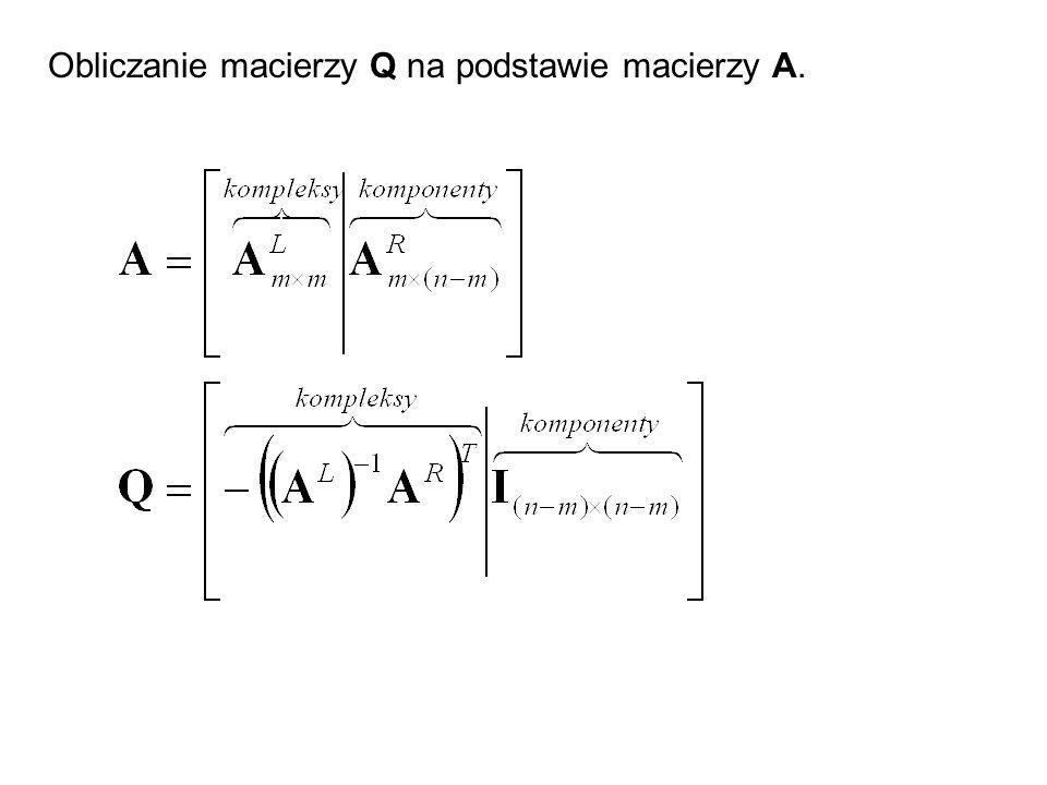 Obliczanie macierzy Q na podstawie macierzy A.