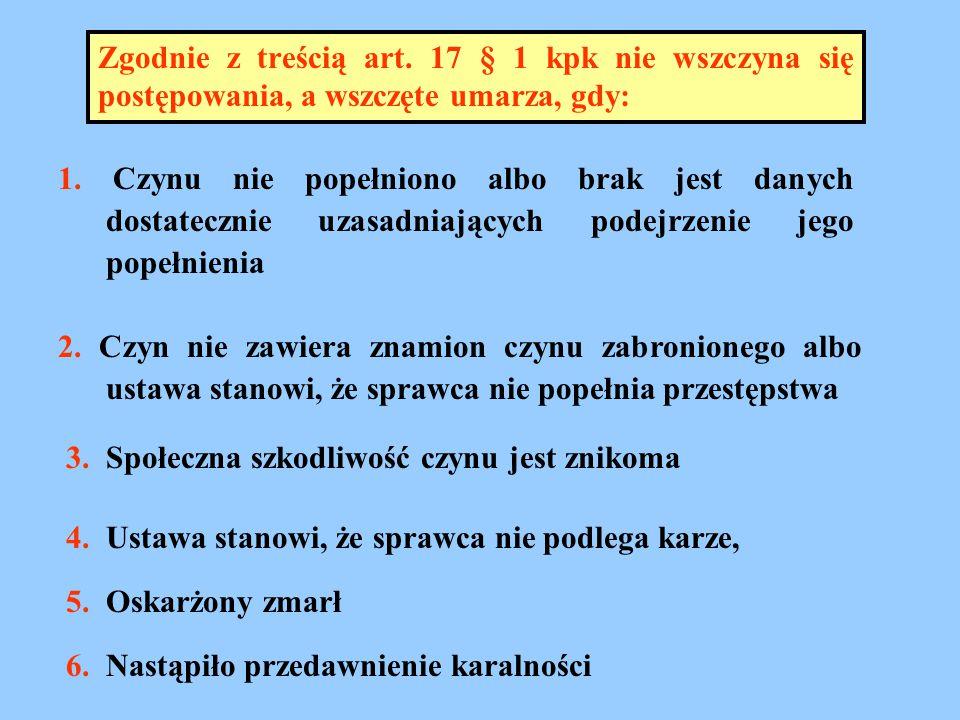 Zgodnie z treścią art. 17 § 1 kpk nie wszczyna się postępowania, a wszczęte umarza, gdy:
