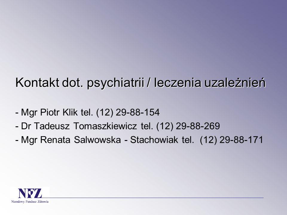 Kontakt dot. psychiatrii / leczenia uzależnień - Mgr Piotr Klik tel