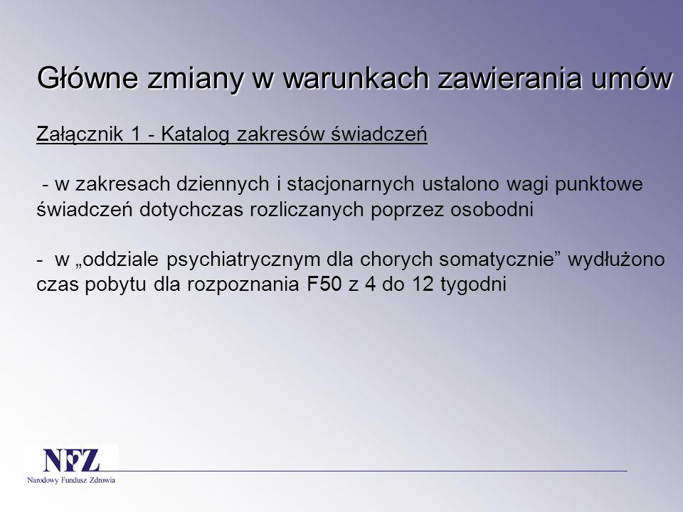 """Główne zmiany w warunkach zawierania umów Załącznik 1 - Katalog zakresów świadczeń - w zakresach dziennych i stacjonarnych ustalono wagi punktowe świadczeń dotychczas rozliczanych poprzez osobodni - w """"oddziale psychiatrycznym dla chorych somatycznie wydłużono czas pobytu dla rozpoznania F50 z 4 do 12 tygodni"""