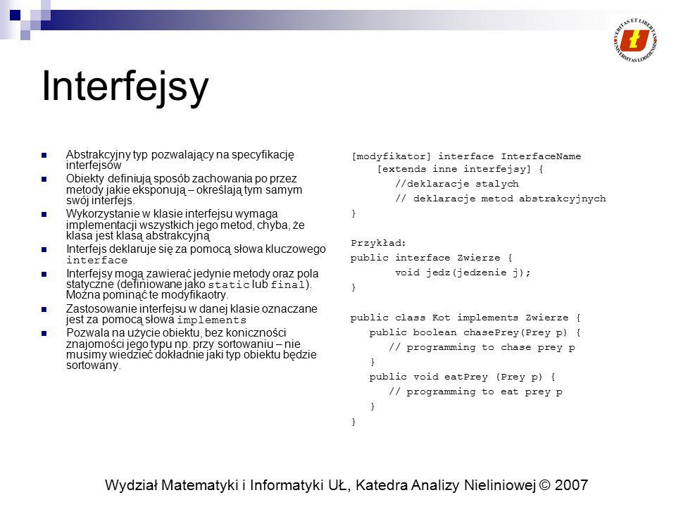 Interfejsy Abstrakcyjny typ pozwalający na specyfikację interfejsów