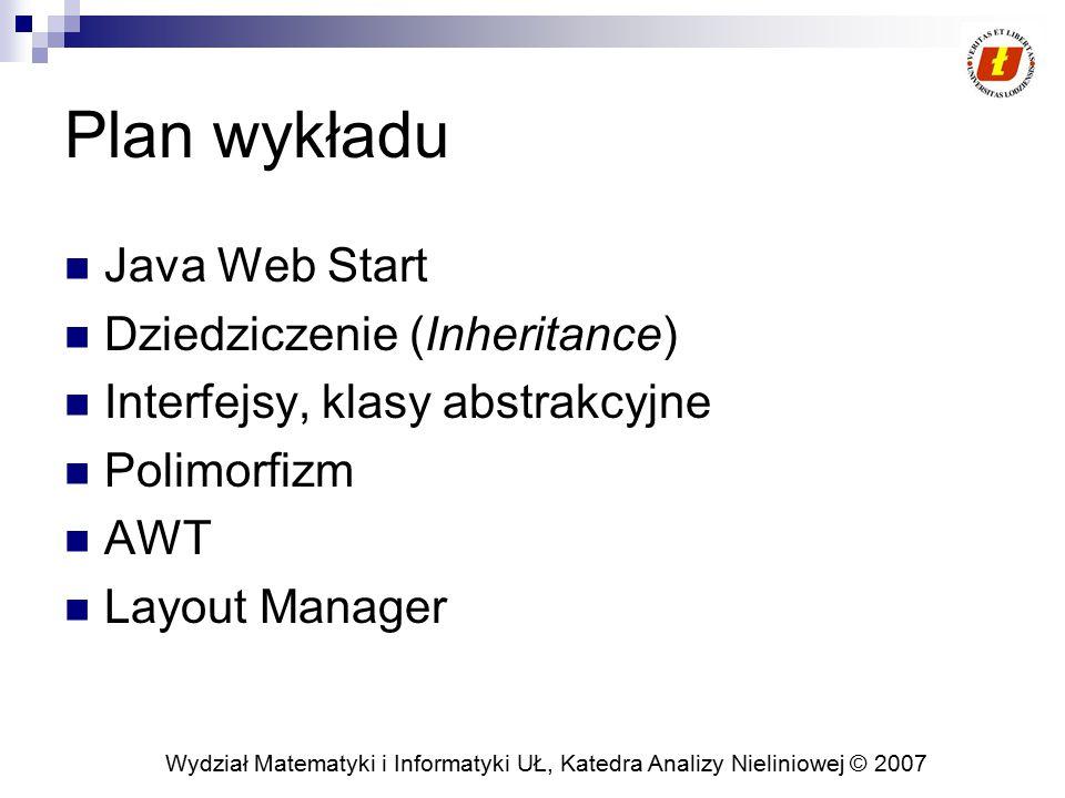 Plan wykładu Java Web Start Dziedziczenie (Inheritance)