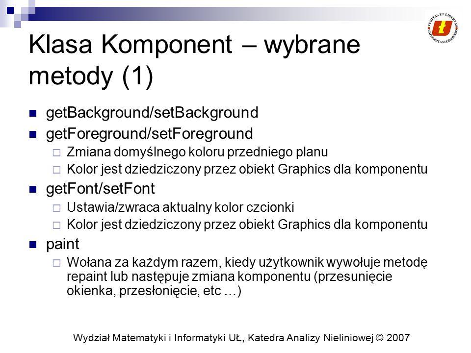 Klasa Komponent – wybrane metody (1)