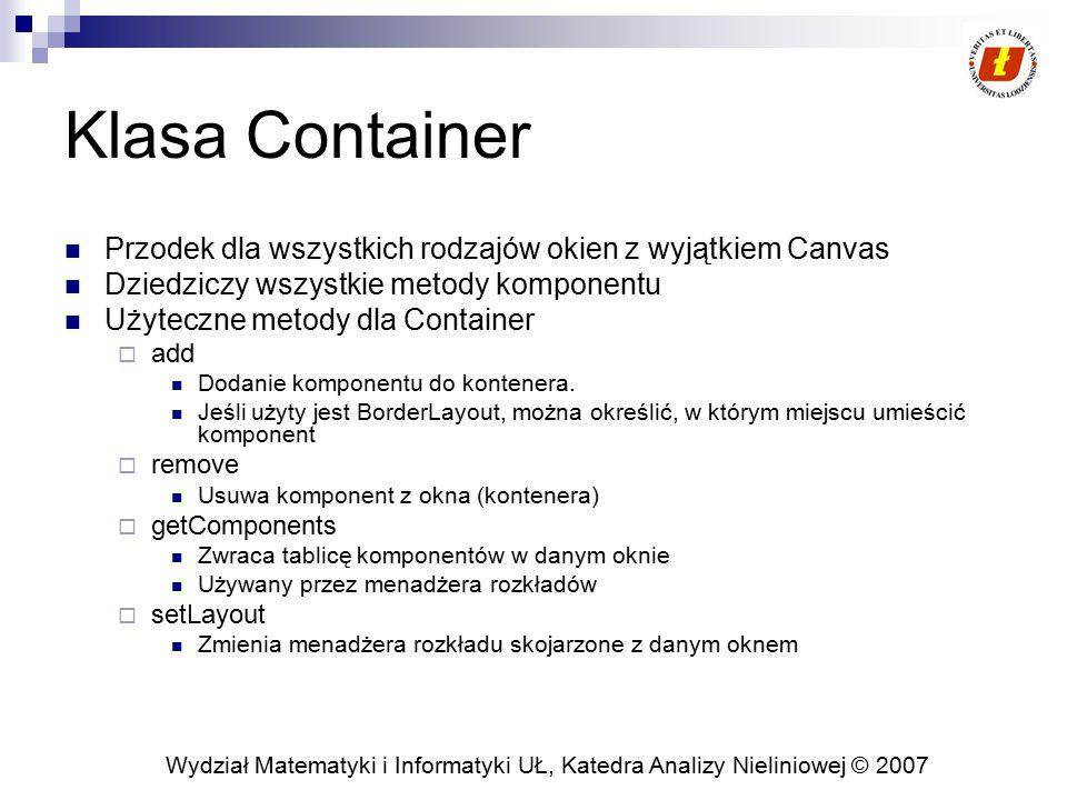 Klasa Container Przodek dla wszystkich rodzajów okien z wyjątkiem Canvas. Dziedziczy wszystkie metody komponentu.