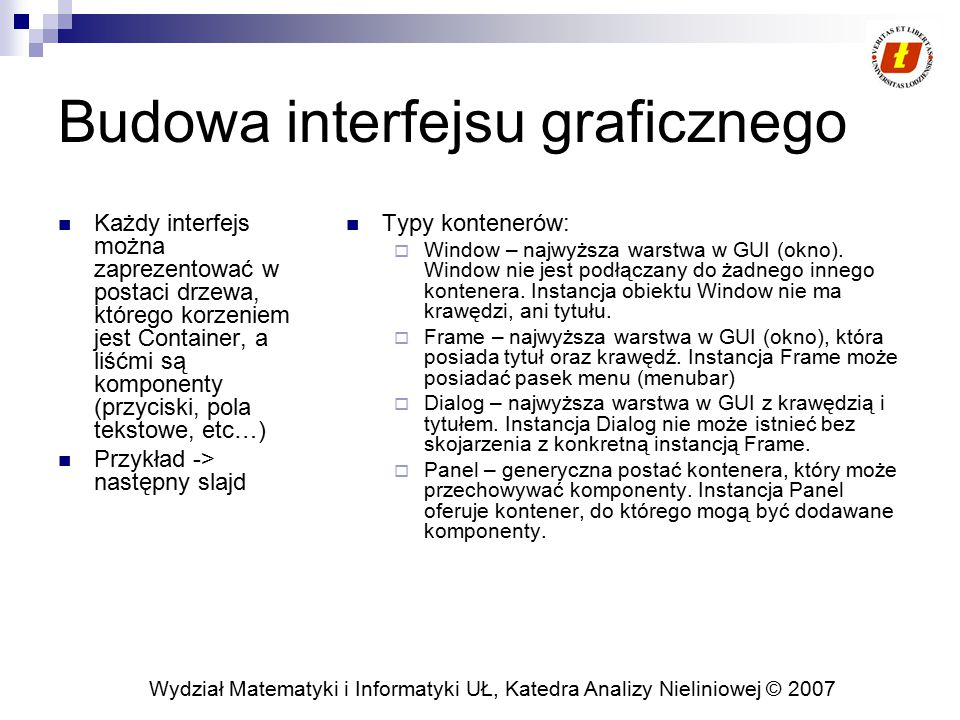 Budowa interfejsu graficznego