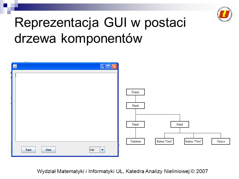 Reprezentacja GUI w postaci drzewa komponentów