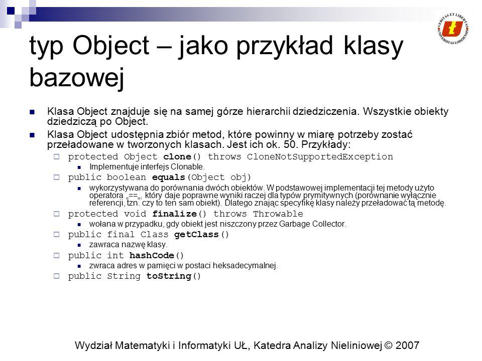 typ Object – jako przykład klasy bazowej