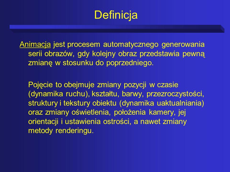 Definicja Animacja jest procesem automatycznego generowania serii obrazów, gdy kolejny obraz przedstawia pewną zmianę w stosunku do poprzedniego.
