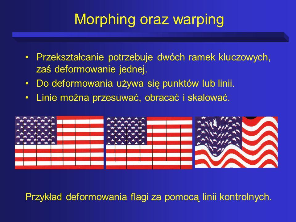 Morphing oraz warping Przekształcanie potrzebuje dwóch ramek kluczowych, zaś deformowanie jednej. Do deformowania używa się punktów lub linii.
