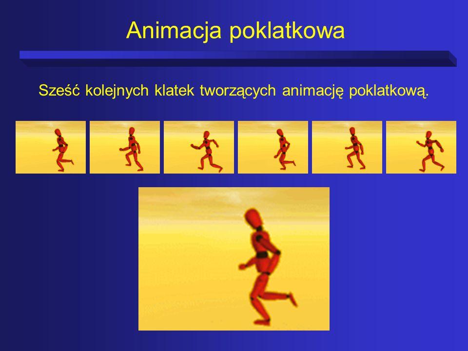 Sześć kolejnych klatek tworzących animację poklatkową.
