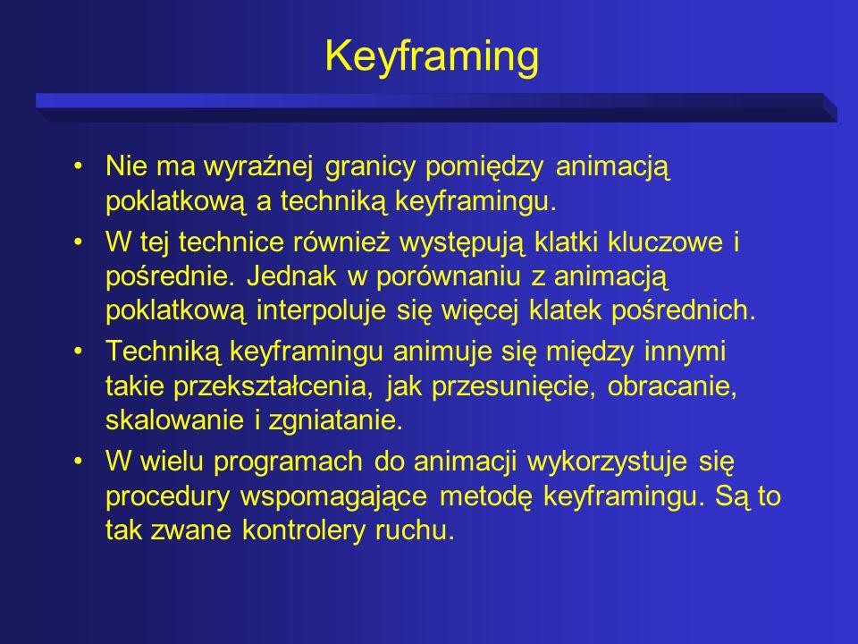 Keyframing Nie ma wyraźnej granicy pomiędzy animacją poklatkową a techniką keyframingu.