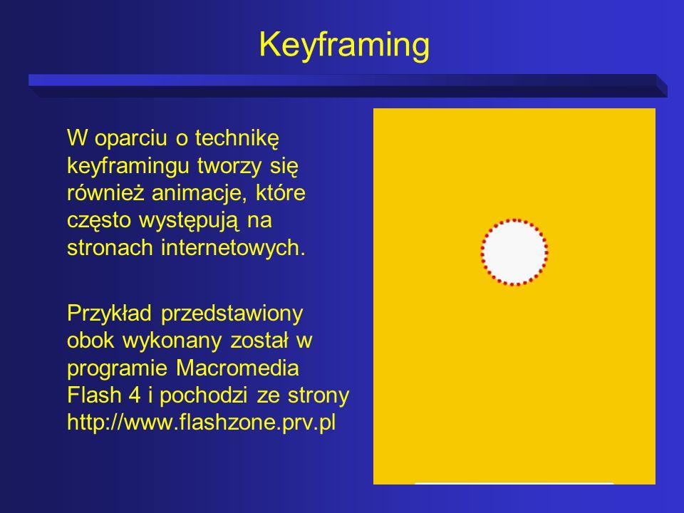 Keyframing W oparciu o technikę keyframingu tworzy się również animacje, które często występują na stronach internetowych.