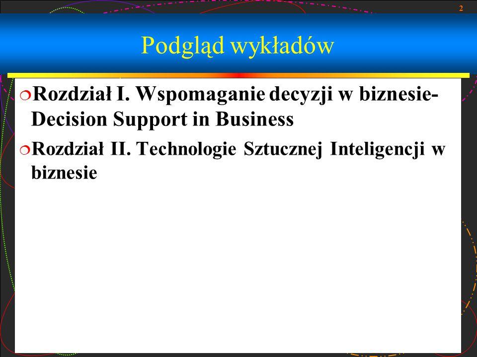 Podgląd wykładów Rozdział I. Wspomaganie decyzji w biznesie- Decision Support in Business.