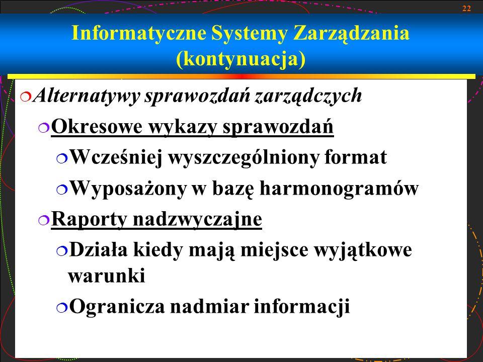 Informatyczne Systemy Zarządzania (kontynuacja)