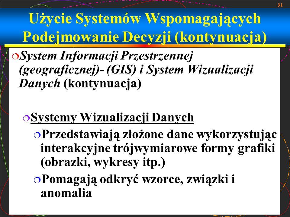 Użycie Systemów Wspomagających Podejmowanie Decyzji (kontynuacja)