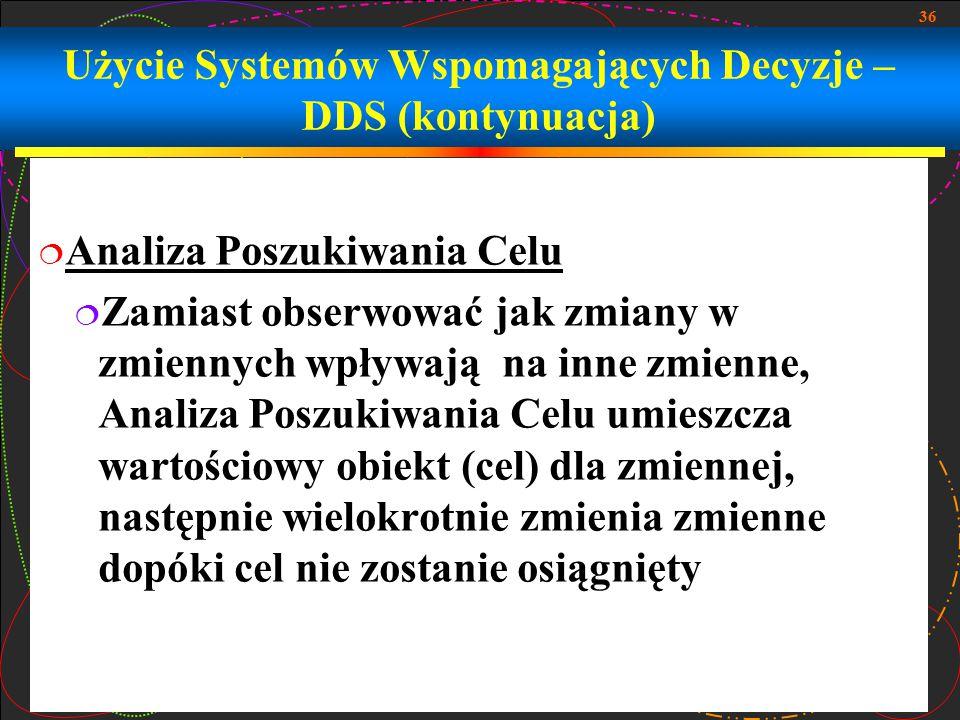Użycie Systemów Wspomagających Decyzje –DDS (kontynuacja)