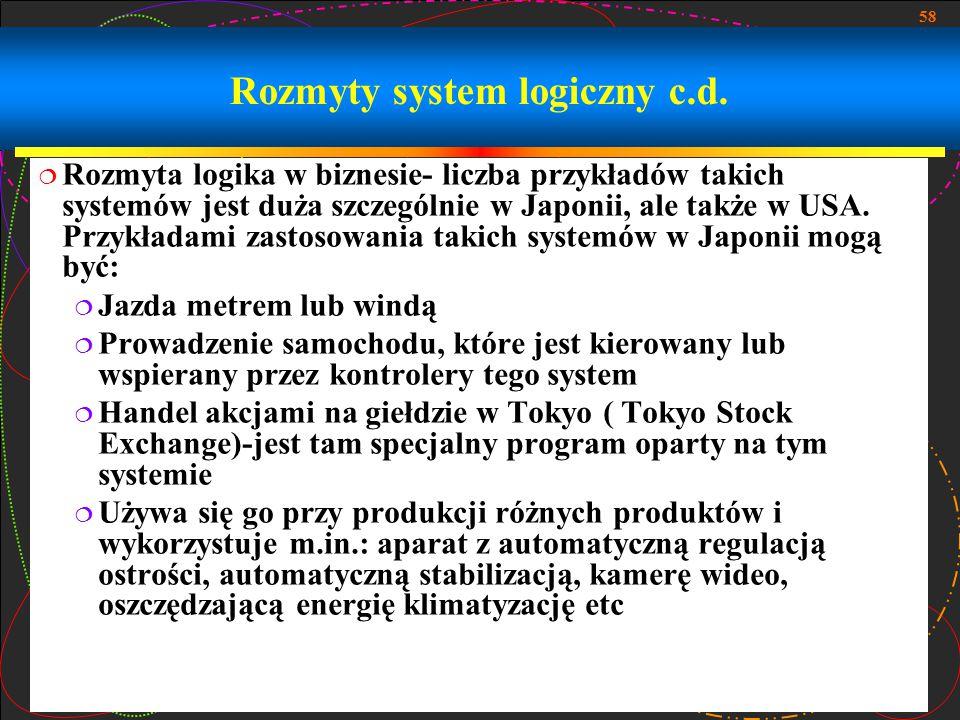 Rozmyty system logiczny c.d.
