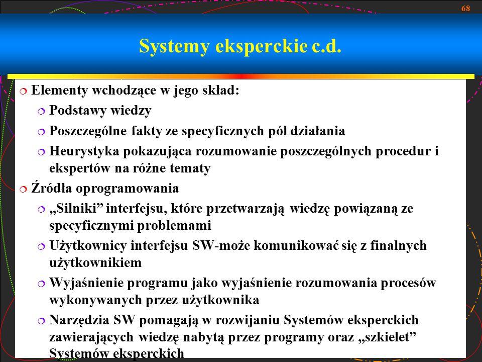 Systemy eksperckie c.d. Elementy wchodzące w jego skład: