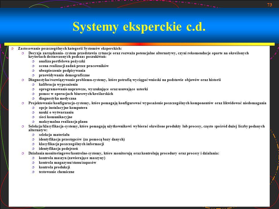 Systemy eksperckie c.d. Zastosowanie poszczególnych kategorii Systemów eksperckich: