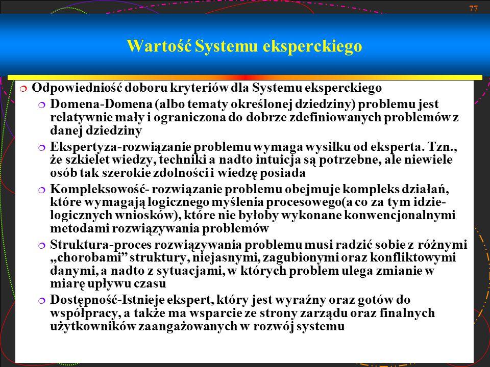Wartość Systemu eksperckiego