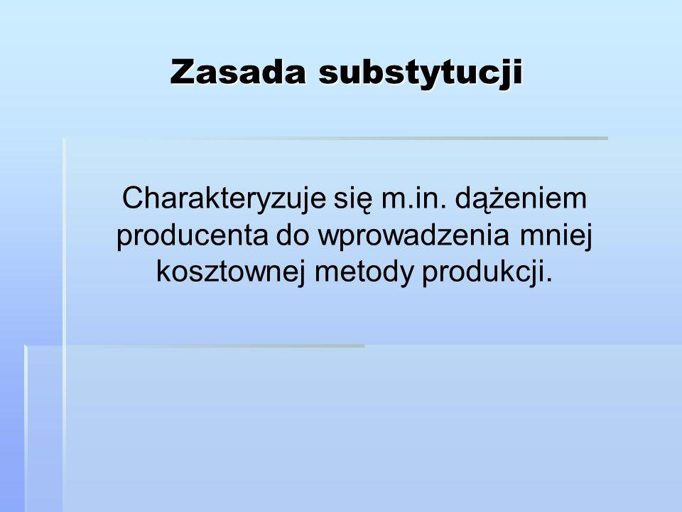 Zasada substytucji Charakteryzuje się m.in.