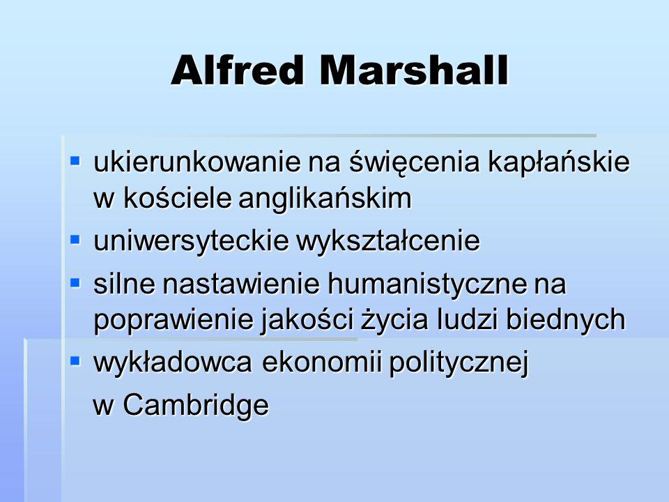 Alfred Marshall ukierunkowanie na święcenia kapłańskie w kościele anglikańskim. uniwersyteckie wykształcenie.