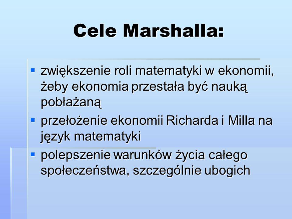 Cele Marshalla: zwiększenie roli matematyki w ekonomii, żeby ekonomia przestała być nauką pobłażaną.