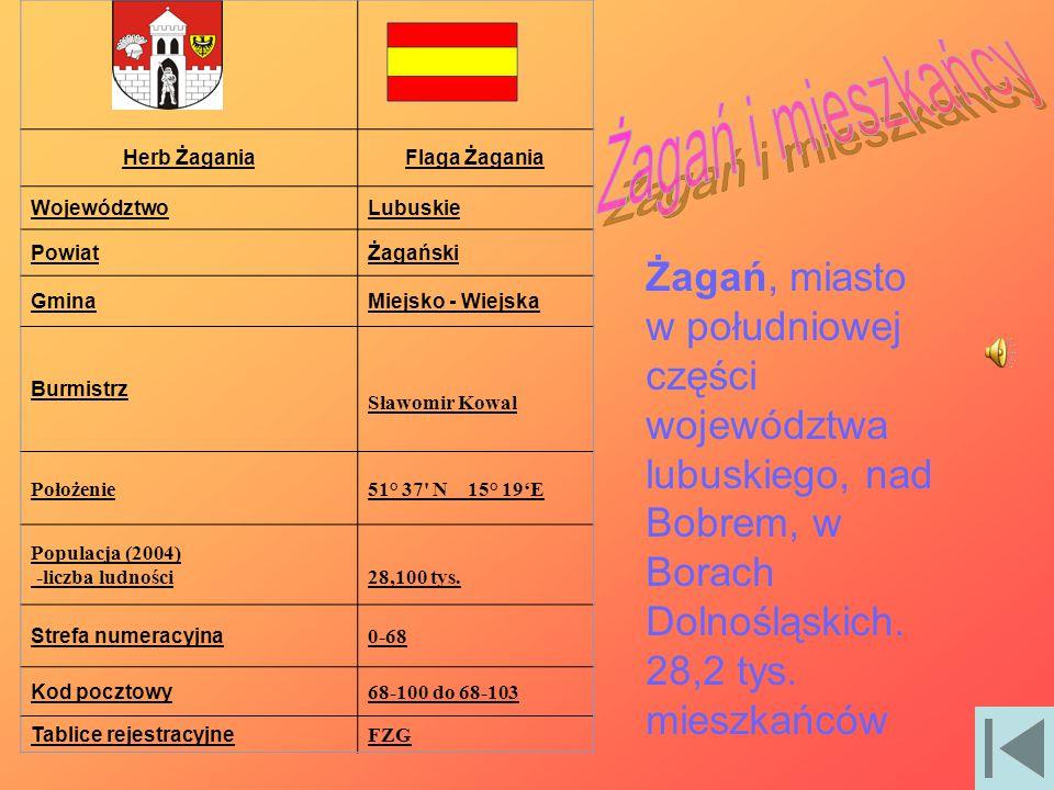 Herb Żagania Flaga Żagania. Województwo. Lubuskie. Powiat. Żagański. Gmina. Miejsko - Wiejska.
