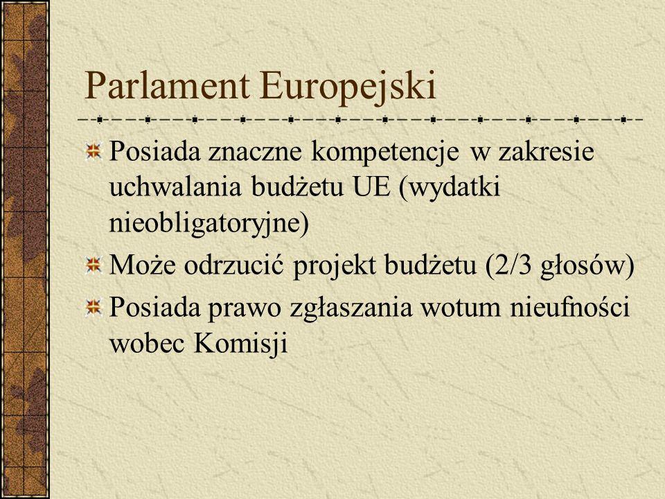 Parlament Europejski Posiada znaczne kompetencje w zakresie uchwalania budżetu UE (wydatki nieobligatoryjne)