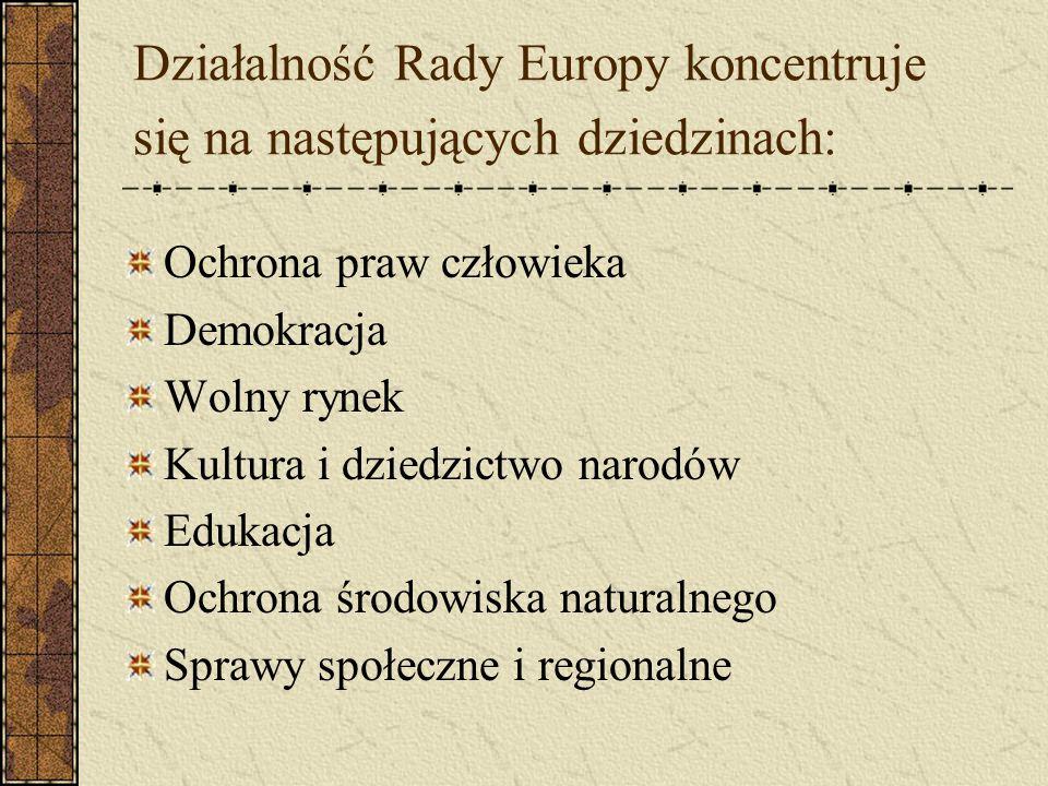 Działalność Rady Europy koncentruje się na następujących dziedzinach: