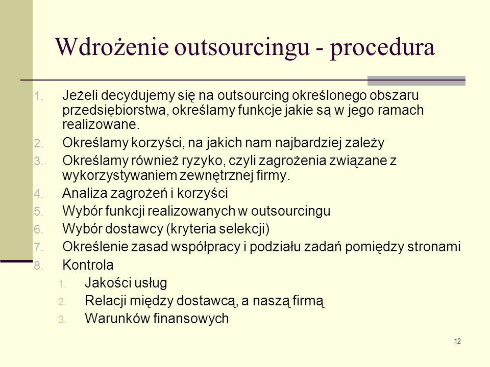 Wdrożenie outsourcingu - procedura