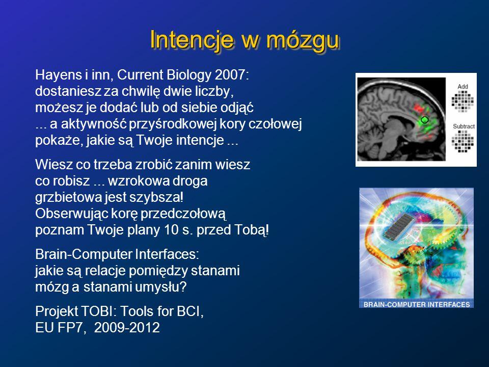 Intencje w mózgu Hayens i inn, Current Biology 2007: