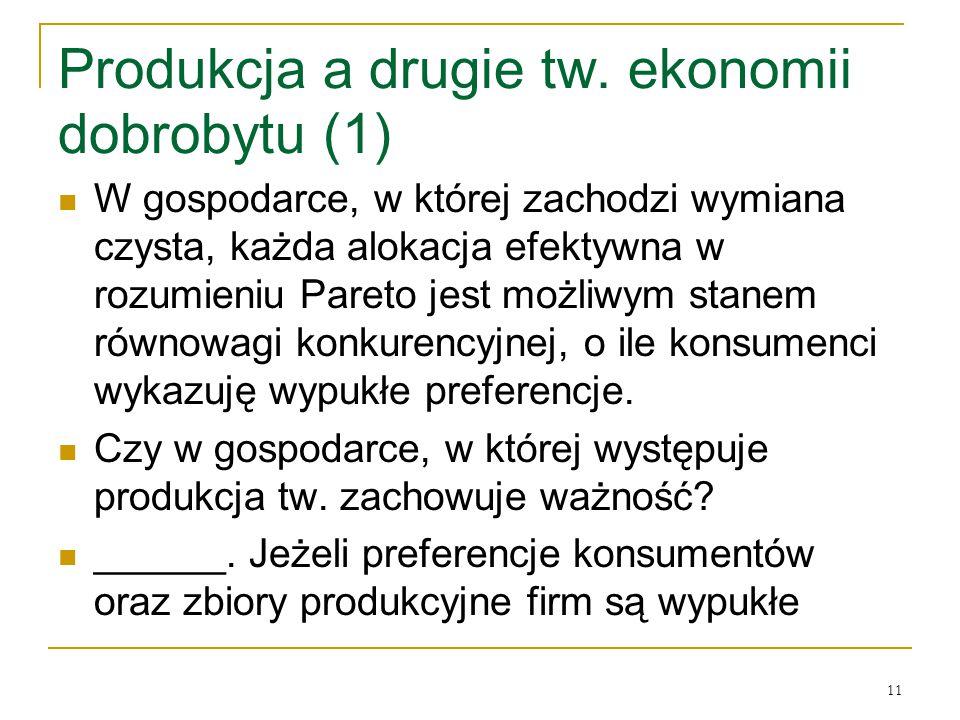 Produkcja a drugie tw. ekonomii dobrobytu (1)