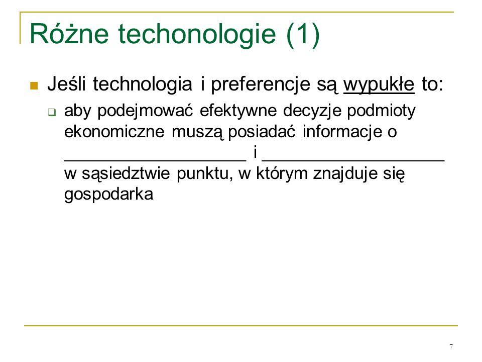 Rόżne techonologie (1) Jeśli technologia i preferencje są wypukłe to: