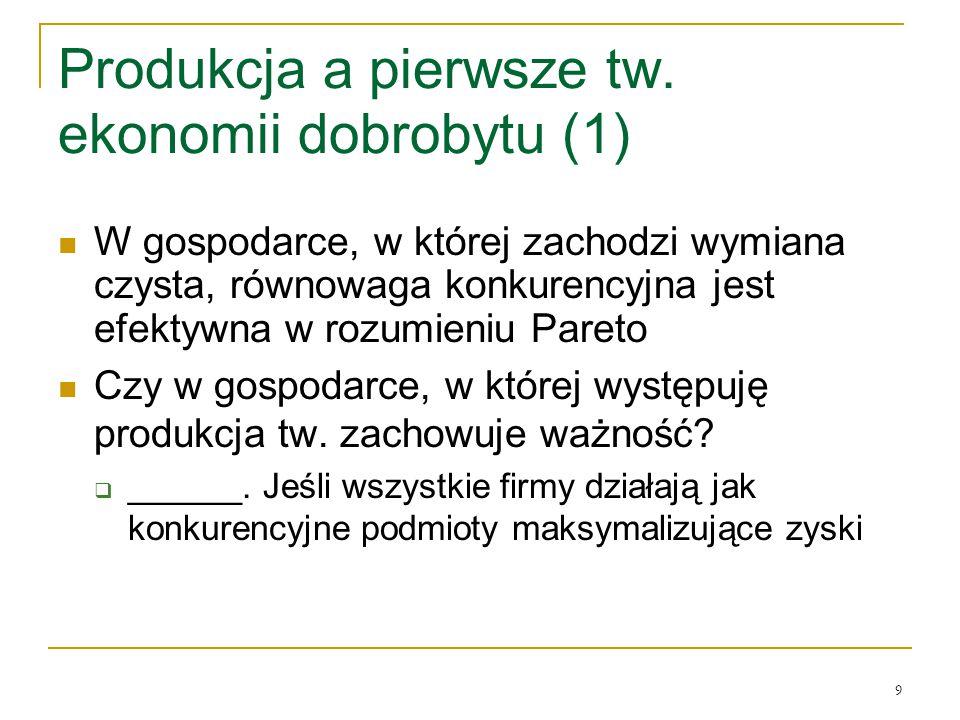 Produkcja a pierwsze tw. ekonomii dobrobytu (1)