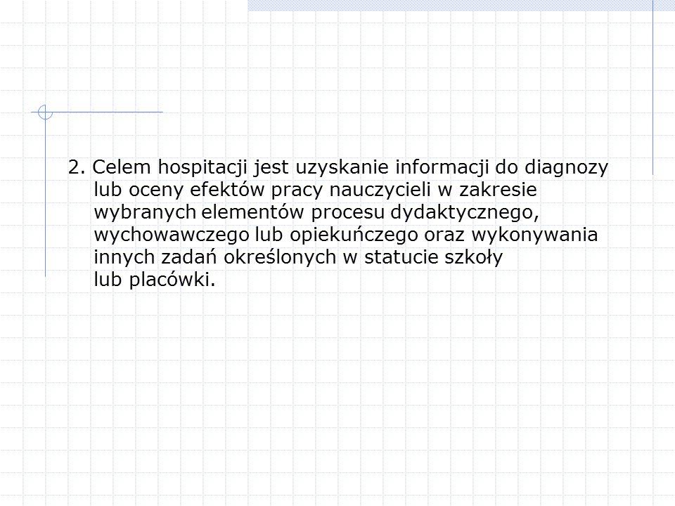 2. Celem hospitacji jest uzyskanie informacji do diagnozy