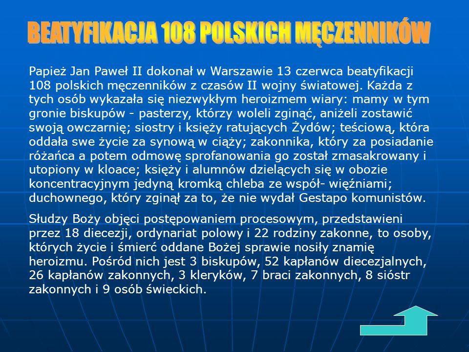 BEATYFIKACJA 108 POLSKICH MĘCZENNIKÓW