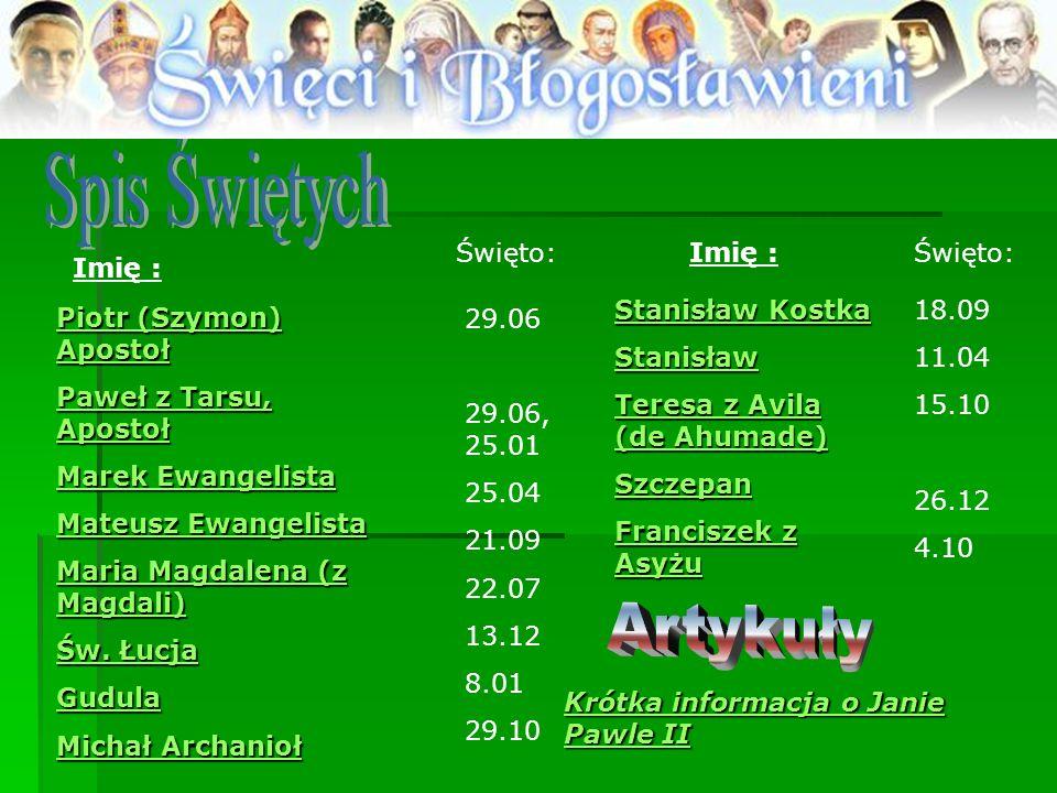 Spis Świętych Artykuły Święto: Imię : Święto: Imię : Stanisław Kostka