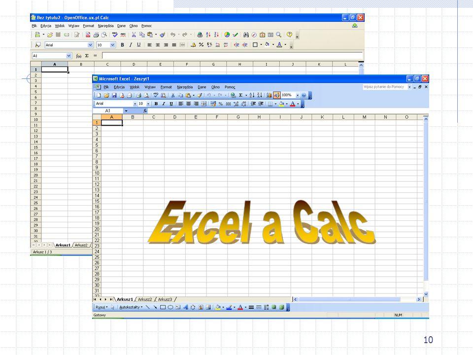 Excel a Calc