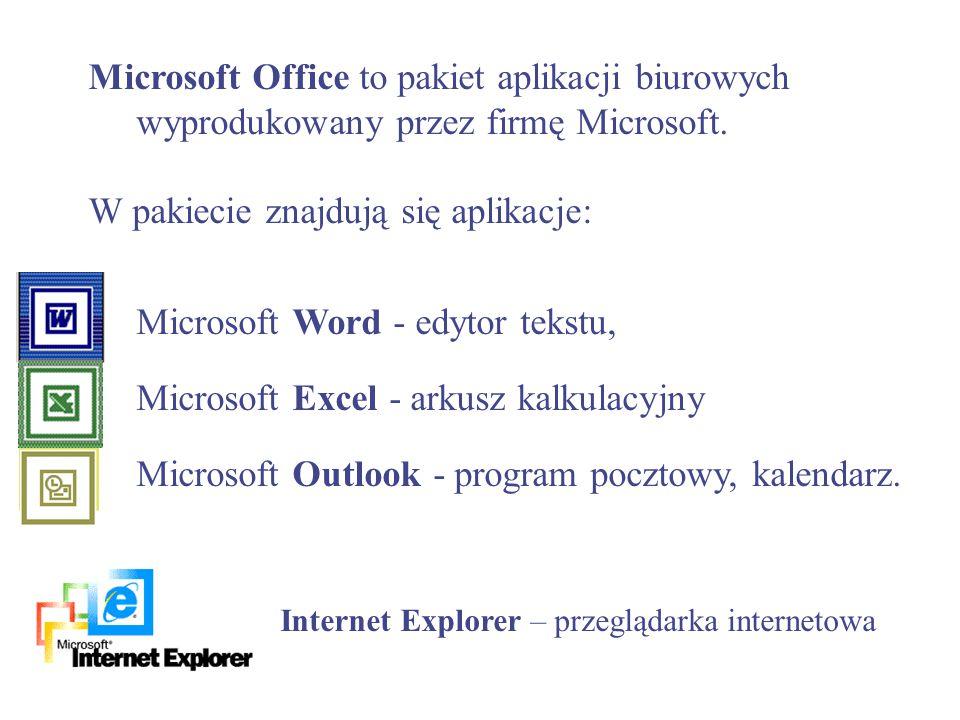 W pakiecie znajdują się aplikacje: Microsoft Word - edytor tekstu,